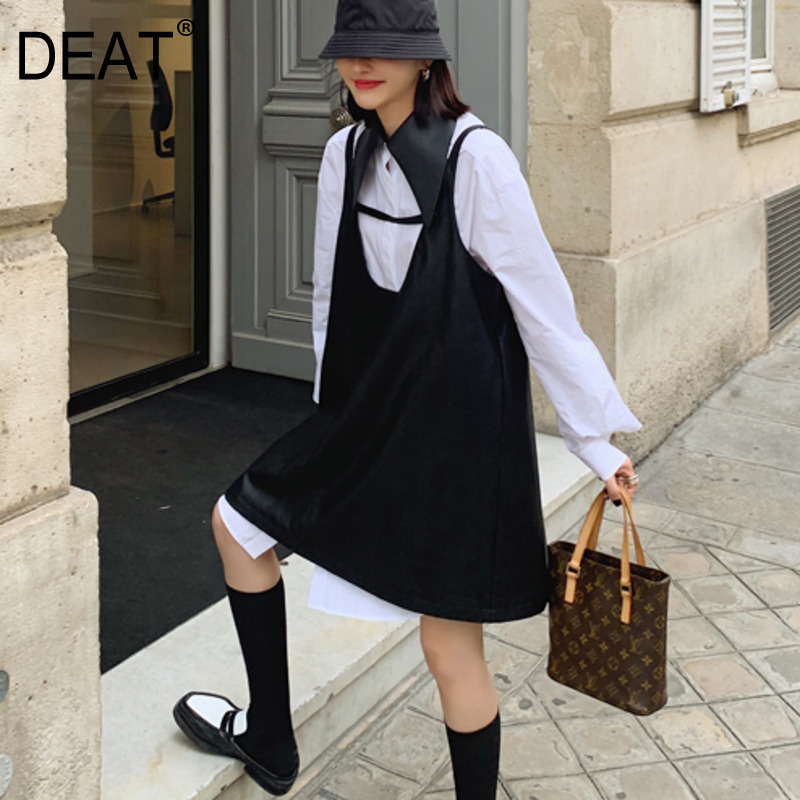 DEAT 2020 New Spring Fashion Women Clothes High Quality Turn-down Collar Full Sleeves Long Shirt Blouse WK57900L