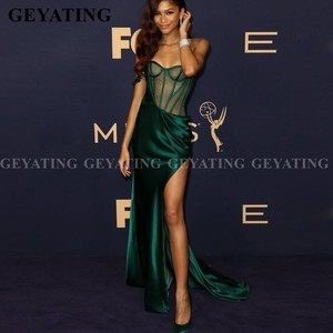 Sexy One Shoulder Mermaid African Prom Dresses with Slit Emerald Green Evening Gowns Sheer Corset Long Red Carpet Formal Dress