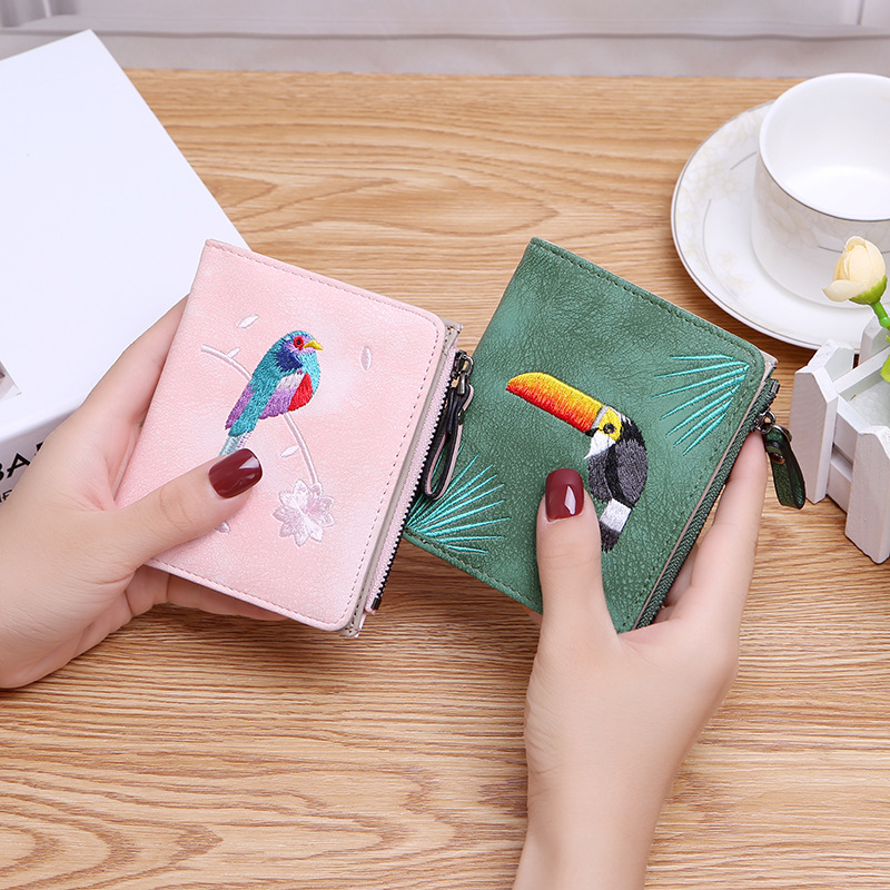 Fashion Bird Embroidered Wallet 2 Folding Purse For Women Girls Small Hasp Slim Coin Pocket Purse Female Designer Wallets