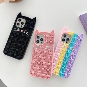 Image 2 - Phone Case For iPhone 12 11 Pro X XR XS Max 12 Mini 6 7 8 Plus SE 2 Relive Stress Pop Fidget Toys Push Cat Soft Silicon Cover