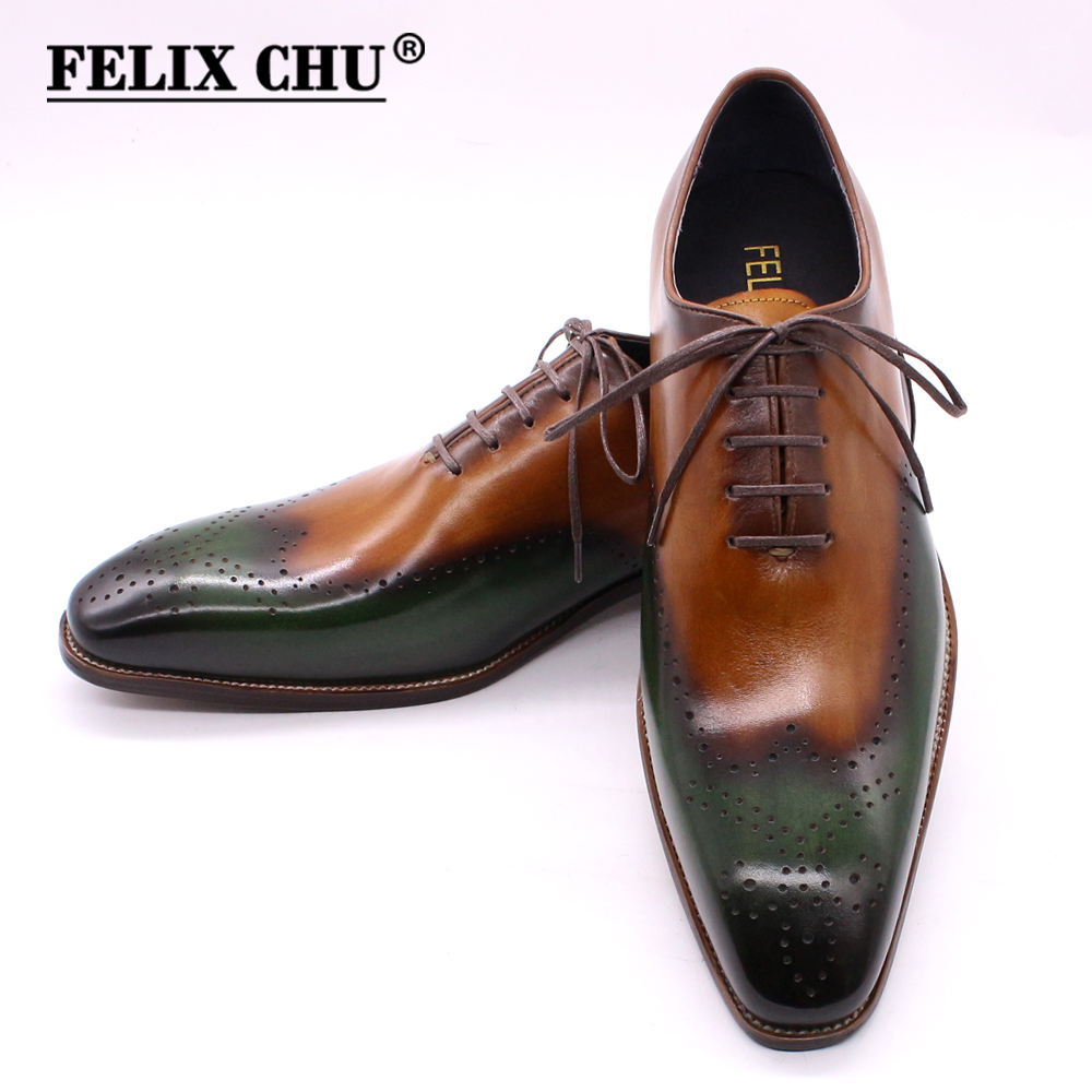 Cheap Size 8-15 Handmade Mens Wingtip Oxfords Green & Camel Genuine Calf Leather Classic Wedding Men Dress Shoes Business Formal Shoes