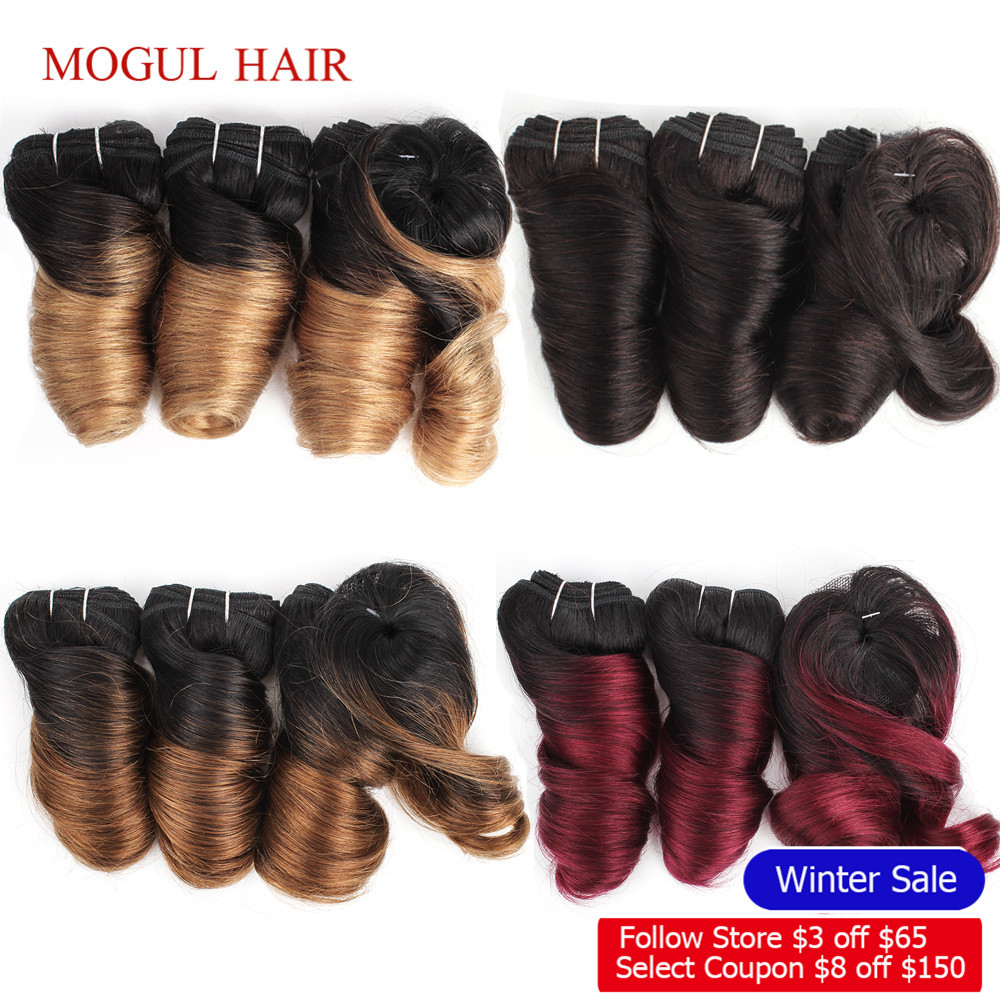 MOGUL HAIR Ombre Honey Blonde Romance Curl Short Bob Style Ombre Non Remy Human Hair Natural Color 155g/set Brazilian Loose Wave