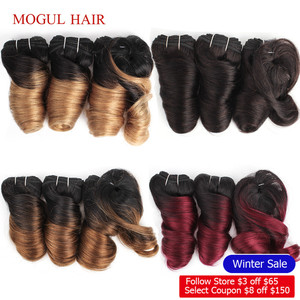 MOGUL HAIR Ombre Honey Blonde Romance Curl Short Bob Style Ombre Non Remy Human Hair Natural Color 155g/set Brazilian Loose Wave(China)