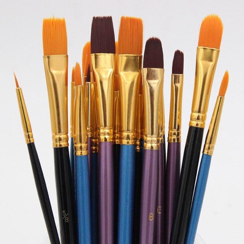 10 шт. акварельные кисти для гуаши, различные формы, Круглый острый наконечник, нейлоновая кисть для краски, набор кистей для рисования, прина...
