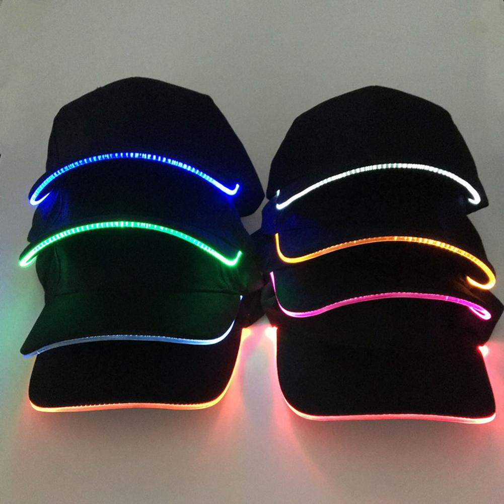 Fashion Unisex Solid Color LED Luminous Baseball Hat Christmas Party Peaked Cap Christmas Halloween Party Hat Presents Toys