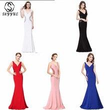 Skyyue Evening Dress V-neck Sleeveless Women Party Dresses Soild Elegant Robe De Soiree 2019 Crystal Gowns C226-DS1
