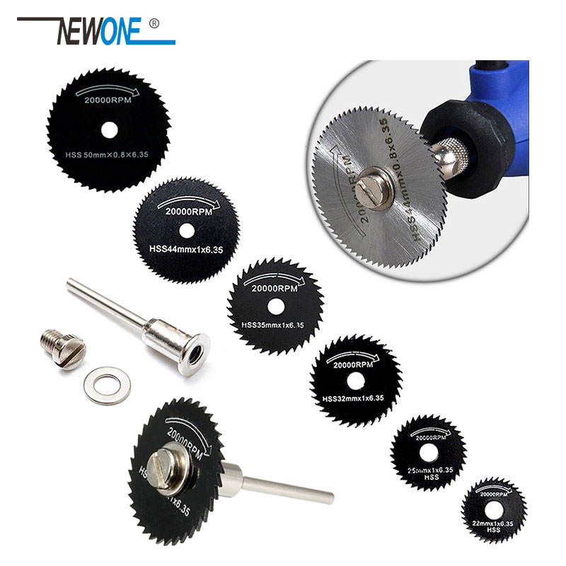 HSS High Speed Steel Saw Blades+ 1 Extension Rod Mandrel For Metal Dremel Rotary Tool Cutting Discs Wheel Wood Cutting Saw