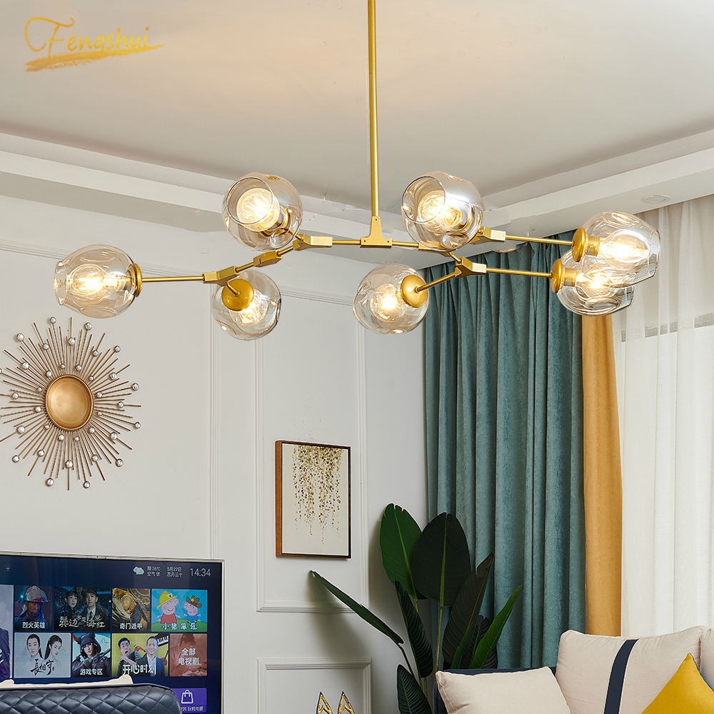 Modern Metal LED Chandeliers Lamp Lustre Living Room Villa Chandelier Lighting Glass Ball Hanging Lamps Kitchen Light Fixtures