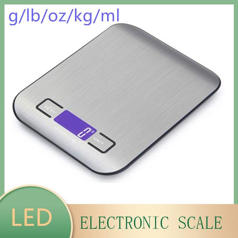 ميزان المطبخ الرقمي 5 كجم شاشة ال سي دي إلكترونية عرض ميزان مقياس وزن الطعام الفولاذ المقاوم للصدأ ميزان إلكتروني دقيق الغذاء الخبز