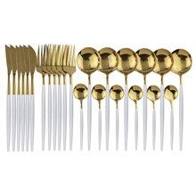 24個ブラックゴールドカトラリーセットキッチン銀器食器セット18/10ステンレス鋼の食器セットナイフフォークスプーンディナーセット