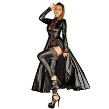 Wetlook Faux Leather Trench Long Dress for WomenPunk Dress Black Vinyl Long Dovetail Cloak Clubwear Plus Size