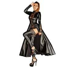 Wetlook Vestido largo de piel sintética para mujer, vestido negro de vinilo con cola de milano, ropa para discoteca de talla grande