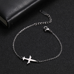 Skyrim Plane Charm Bracelet Stainless Steel Aircraft Airplane Adjustable Chain Link Bracelets Pulsera Jewelry Gift for Women