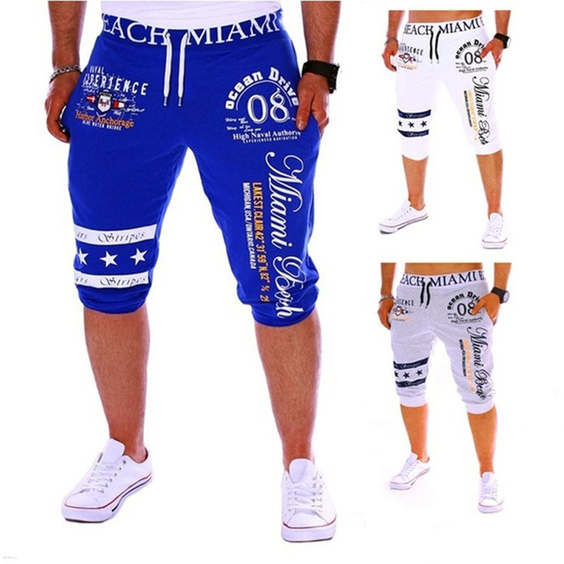 ZOGAA Men's Shorts Casual Drawstring Elastic High Waist High Quality Letter Printed Knee Length Pockets Sweatpants Outwear Men