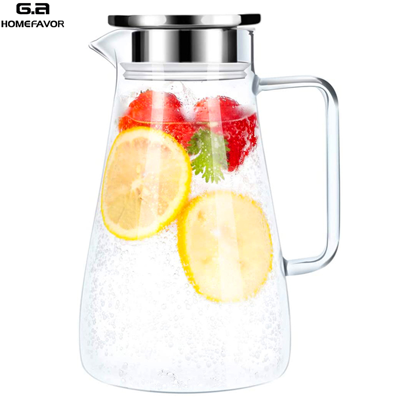 Cold Water Kettle Teapot Glass Pitcher Jug Water Juice Tea Carafe Large Bottle With Stainless Steel Lid Kitchen Accessories
