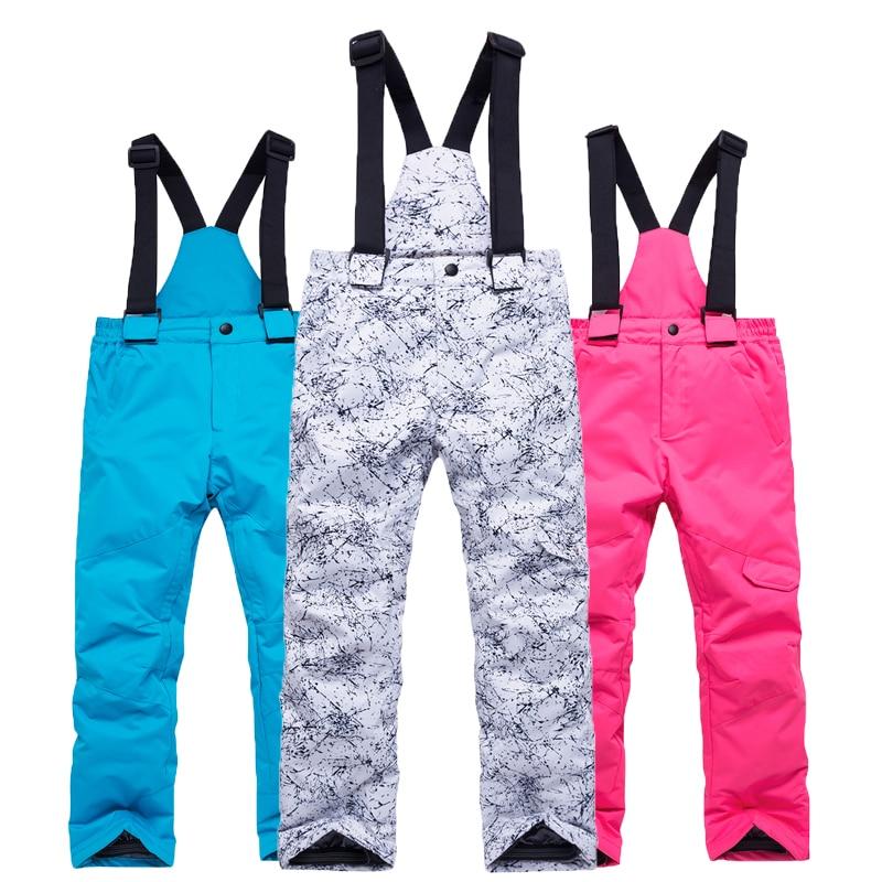 Лыжные брюки для мальчиков и девочек, водонепроницаемые и теплые ветрозащитные спортивные брюки для детей, новинка зимы 2020