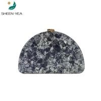 New messenger bag chic shell semi circle acrylic evening bag Vintage party prom handbag stylish clutch purse black hard box bags