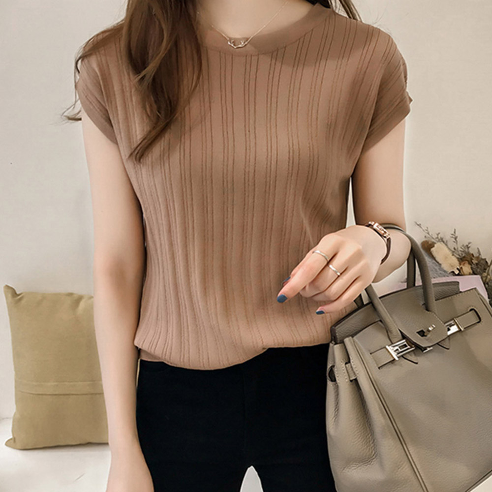 2020 Summer Ice Silk Knitted Tops Short Sleeve Solid Slim Bright Office Lady Work Causal Silk Shirts Korean Slim Knitwear