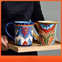 Criativo boêmio caneca europeia cerâmica bonito beber leite xícara de café casa pintados à mão grande capacidade 500ml copo de água