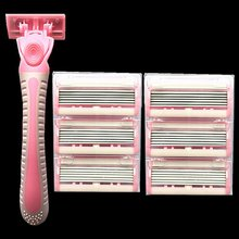 Stainless Steel 6-layer Razor Ladies Manual Hair Removal Shaving Blades Legs Body Bikini Shaving Machine (1 Handle+7 Blades) недорого