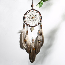 1PC Retro Mini Bell Dream Catcher Pendant Feather Ornament Room Gift wall hanging home decor Wait for Maple October wind chimes