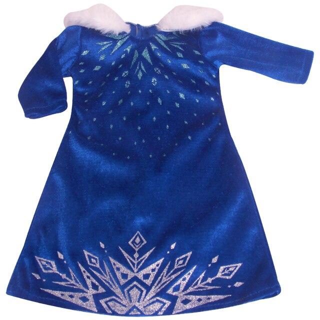 18 cali dziewczyny ubranka dla lalki Elsa niebieska sukienka + koronkowa peleryna amerykańska noworodka spódnica zabawki dla dzieci fit 43 cm lalki dla dzieci c853