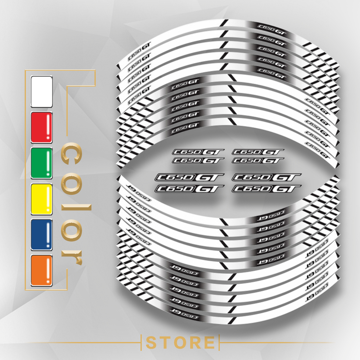 New Motorcycle Tire Reflective stickers inner wheel stripes decoration decals For <font><b>BMW</b></font> <font><b>C650</b></font> <font><b>GT</b></font> image