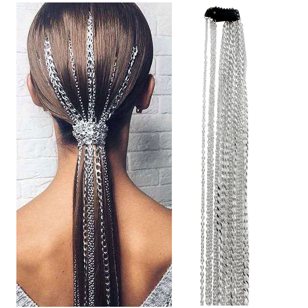 Metal Long Hair Chains Wig Jewelry Accessories Braided Headwear for Women decoration for hair