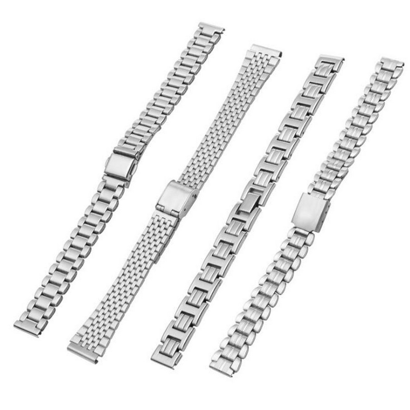 10mm 12mm 14mm 16mm 18mm Stainless Steel Watch Band Strap Bracelet Watchband Butterfly Clasps Silver Buckle For Women Men