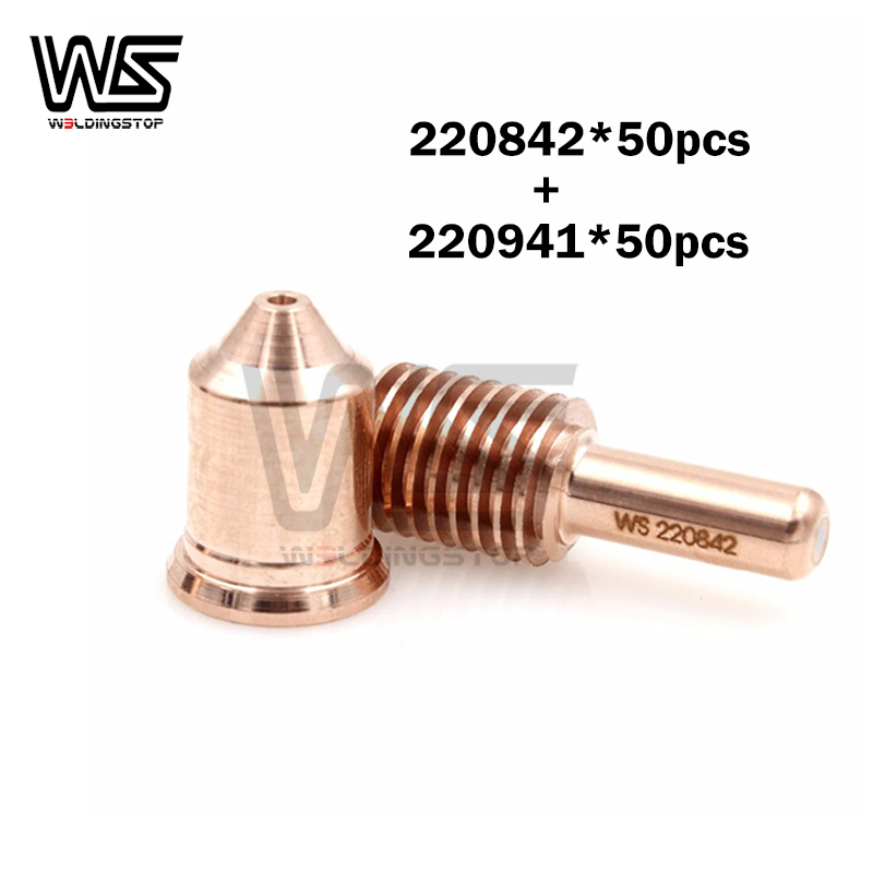 Tools : 220941 nozzle 45A 50pcs 220842 electrode 50pcs plasma cutter torch consumable Free Shipping PKG 100