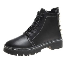 Cool Black Combat Martin Boots Women Leather Platform Boots Punk Ankle Boots Women Shoes Zip Lace Up Casual Dr Botas Mujer prova perfetto punk style women ankle boots special two kinds of wear rivet studded martin boots lace up genuine leather botas