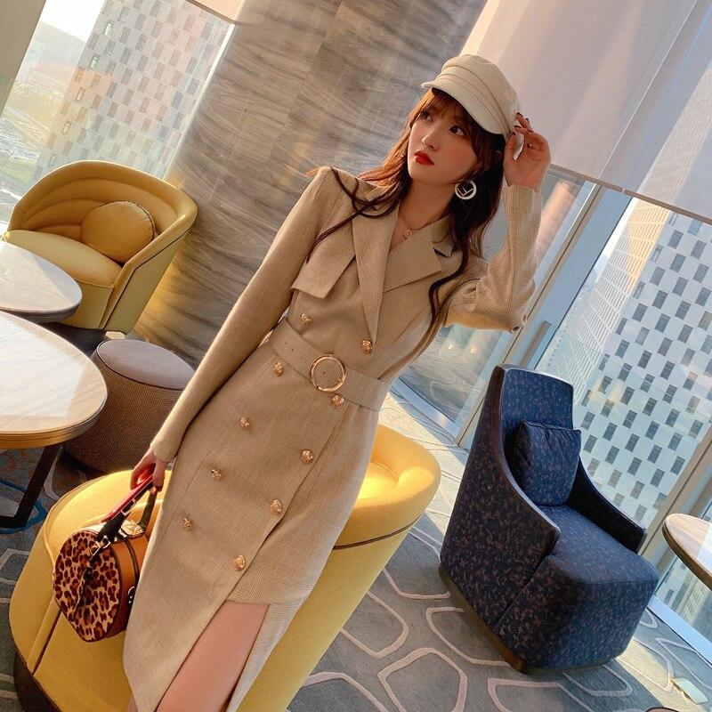 double-breasted plaid bandage dress suits women khaki long sleeve ladies robe blazer elegant women's office dresses Vestidos