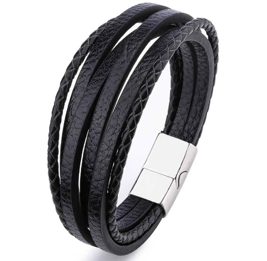 8 styles 21CM Genuine Leather Bracelet Black & Brown Color with Stainless Steel Buckle Easy Hook Bangle For Cool Boys men Gift