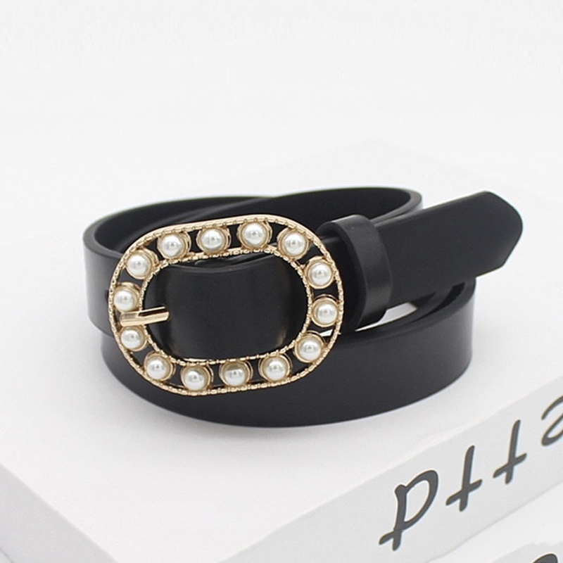 Black Leather Belt Women 2020 Waist Pearl Belts Ladies Jeans Ceinture Femme Designer High Quality Cinturon Mujer Girls Waistband