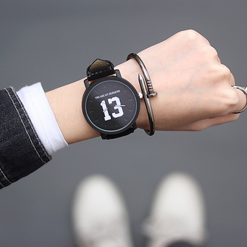 Fashion trend Korean version of simple belt small fresh black and white student lovers quartz watch sanda new ultra thin watch ladies student quartz watch simple trend korean version of the milan network with women s watch