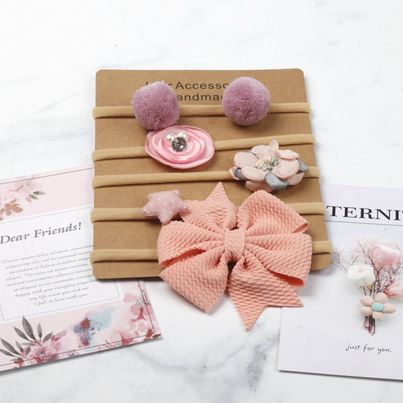 5pcs/set Baby Girls Nylon Headband Flower Hair Bands Bebes Bows Bowknot Headbands Hair Accessories
