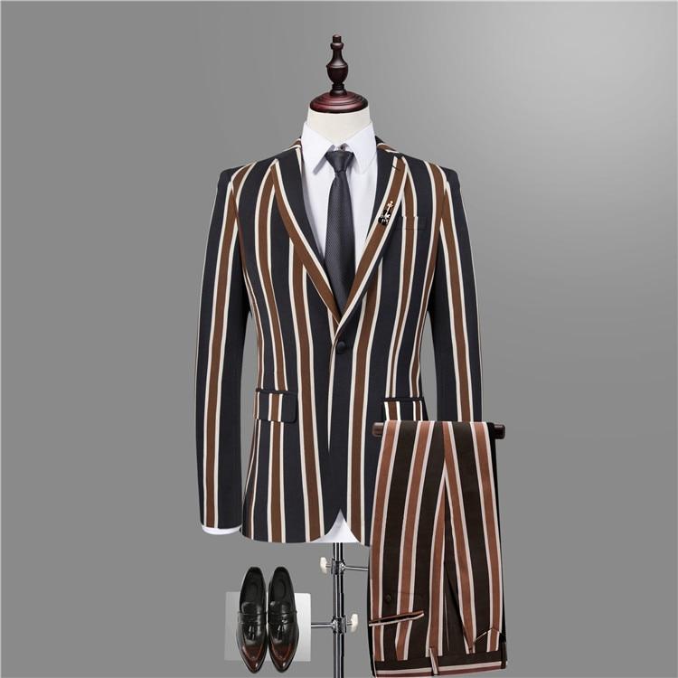 1 Pcs / Suit , Striped Blazers Men