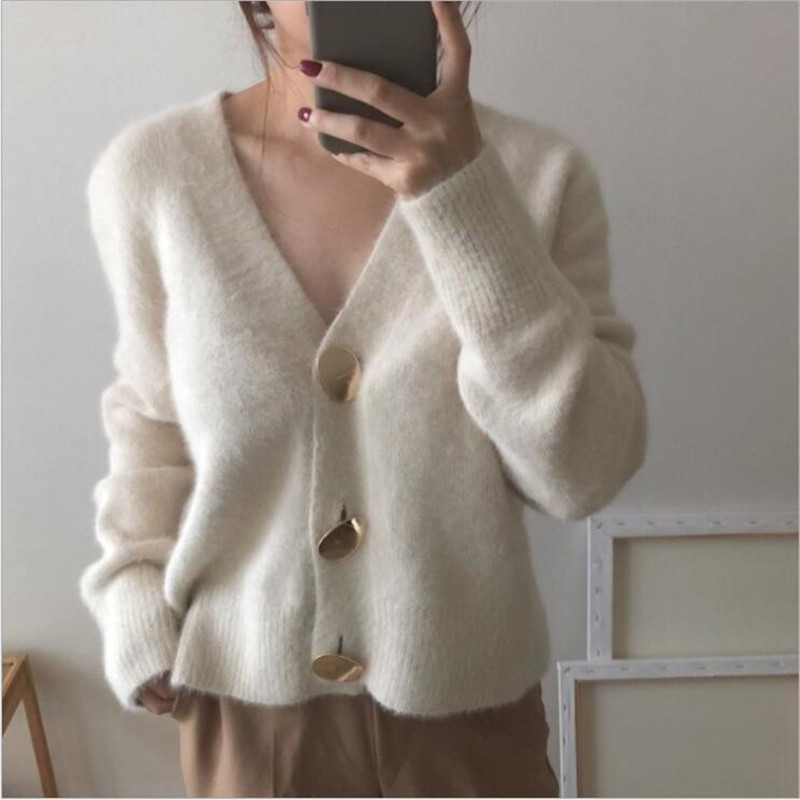 On Sale 2019 Solid Elegant Women Cardigans Casual V-Neck Knitted Women Sweaters Slim Autumn Winter Clothes Jersey Mujer Invierno