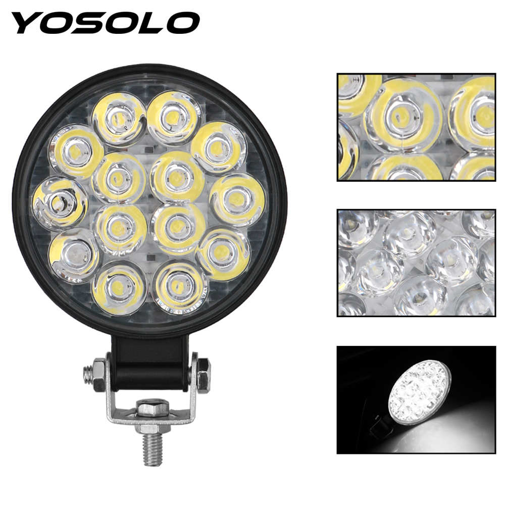 YOSOLO 4x4 Off Road Driving Light Super Bright Spot Beam Round LED Light Bar 42W LED Work Light For Truck Tractor