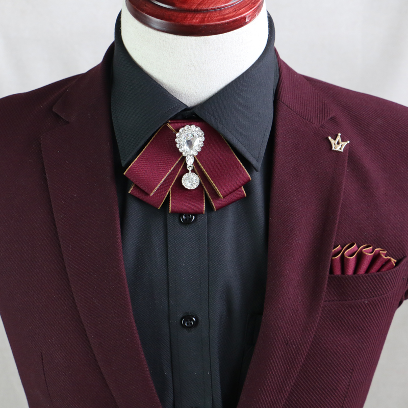 I-Remiel Korean Vintage Luxury Diamond Bow Tie British Flower Bows Brooch Bowtie For Mens Wedding Suit Clothing & Accessories