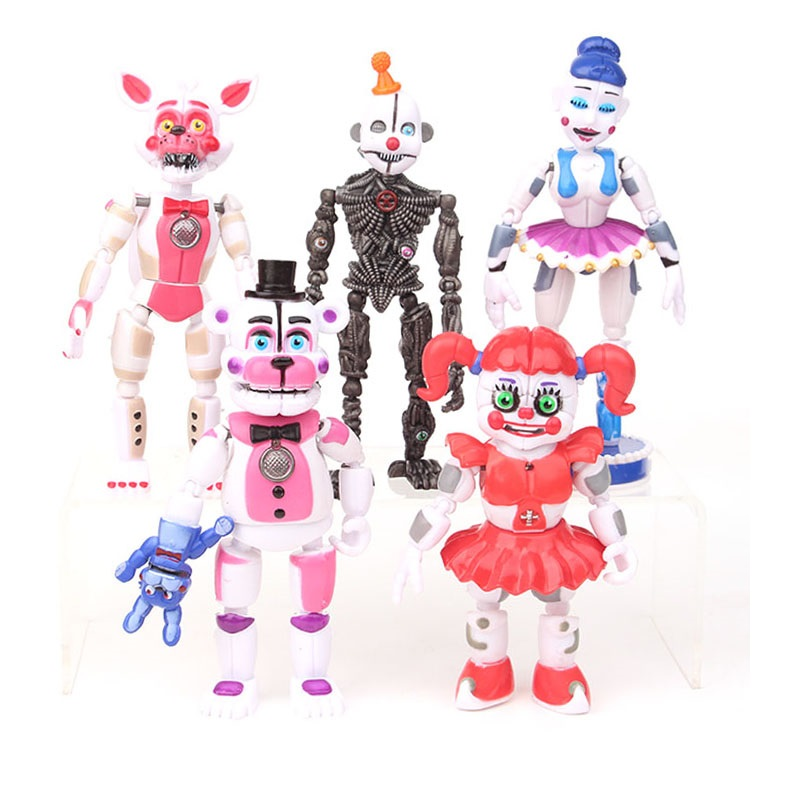 Hot 5 Pcs/set Five Nights At Freddy's Game FNAF Figure Funtime Freddy Foxy Sister Location Lightening Movable Joint Gift ToysAction & Toy Figures
