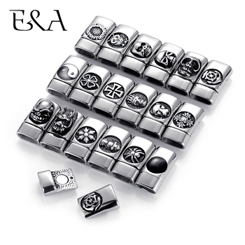 Stainless Steel 12*6mm Hole Magnetic Clasps for Leather Bracelet Cross Skull Anchor Owl Clasp DIY Jewelry Making Accessories stainless steel magnetic clasps hole 12 6mm for leather cord bracelet magnet clasp buckle diy jewelry making supplies accessory