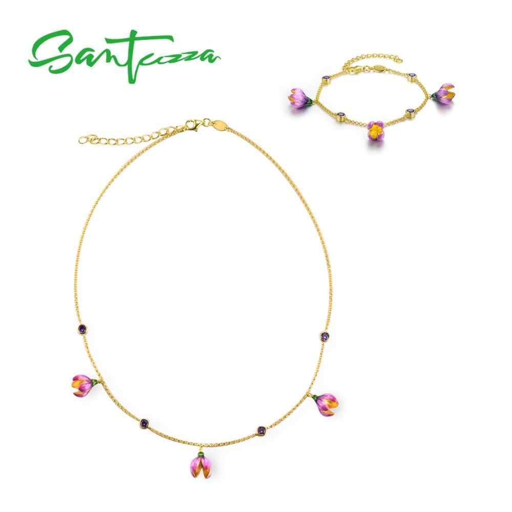 SANTUZZA เงินชุดเครื่องประดับสำหรับสตรี 925 เงินสเตอร์ลิงสง่างามดอกไม้สีชมพูสร้อยคอสร้อยข้อมือชุดเครื่องประดับเคลือบ