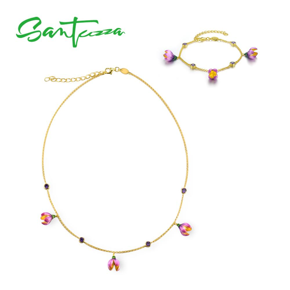 SANTUZZA Silver Jewelry Set For Women Pure 925 Sterling Silver Elegant Pink Flower Necklace Bracelet Set Set Fine Jewelry Enamel