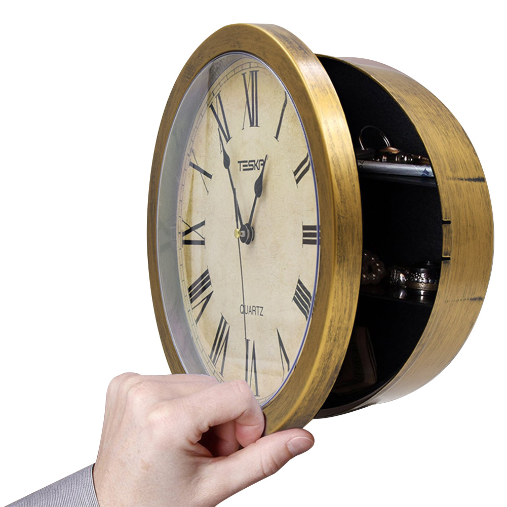 Pointer Storage Security Cash Retro Clock Safety Box Vintage Secret Jewelry Watch Office Home Wall Hanging