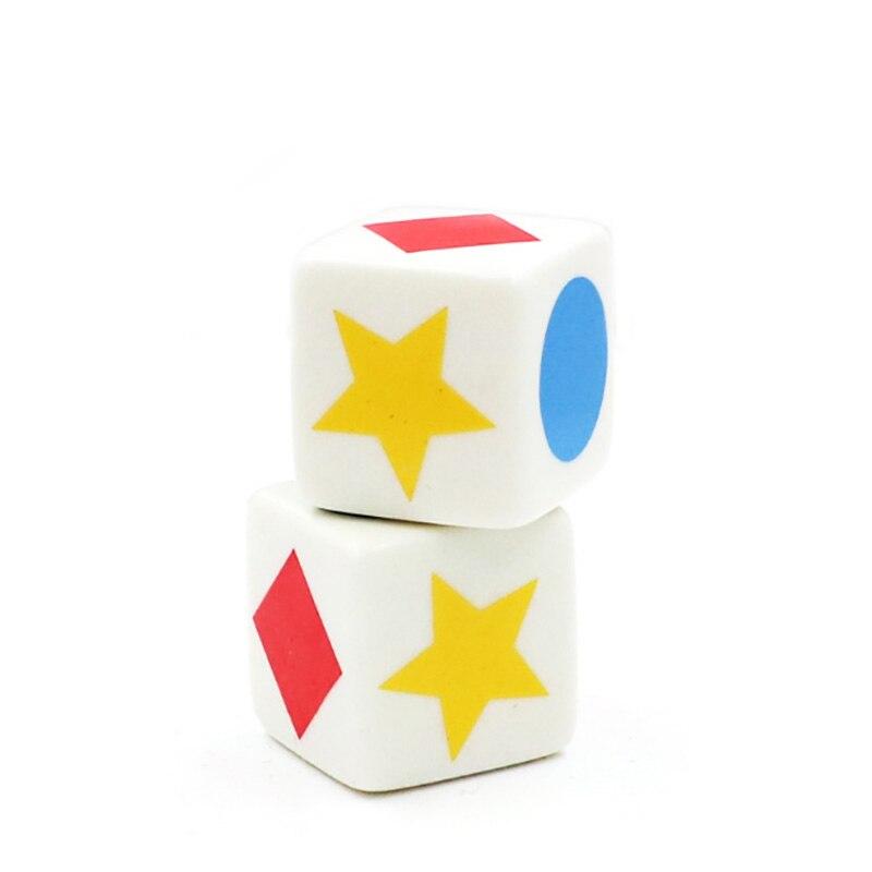 10 pçs/lote dados padrão, tipos de dados, jogo de cognição gráfica, 6 dados de canto quadrados, acessório engraçado, jogo 20mm