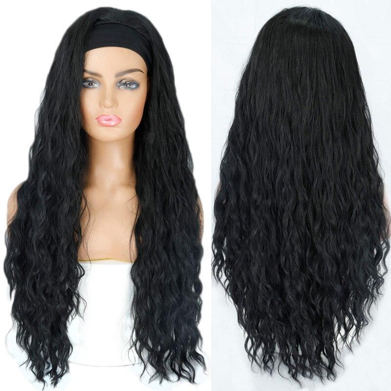 Lisi cabelo preto onda longa peruca ligada perucas de cabeça resistente ao calor da água perucas sintéticas para cabelo preto africano-americano