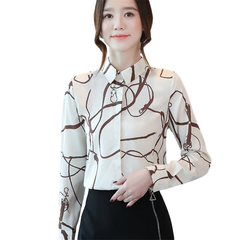 2020 Spring New Women Printed Shirt Long-sleeved Chiffon Women Blouses Summer Women Tops And Blouses Office Ladyies Shirts