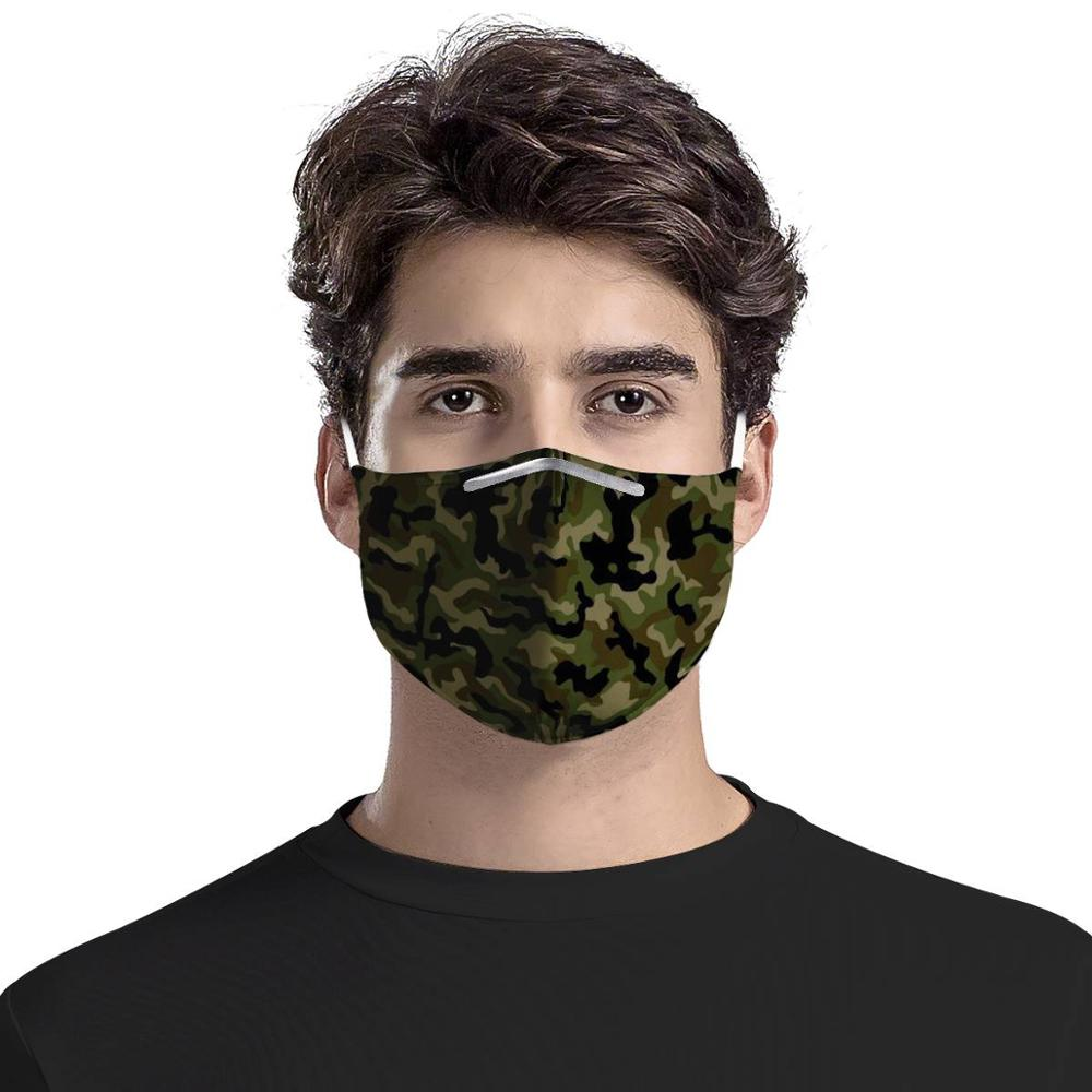 Customizable Graphics Masks 4Pcs Filter Masks Army Green Camouflage Carbon Insert Women Men Anti-dust Masks Reusable Face Mask