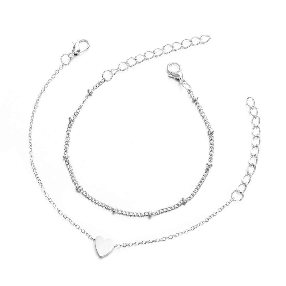 2 pièces/ensemble minimaliste or argent couleur petit amour lien chaîne bracelets pour femme amitié amour bracelets porte-bonheur bracelets bijoux
